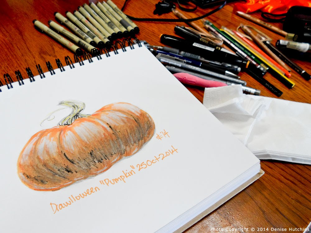 Pumpkin Drawing with View of Art Supplies