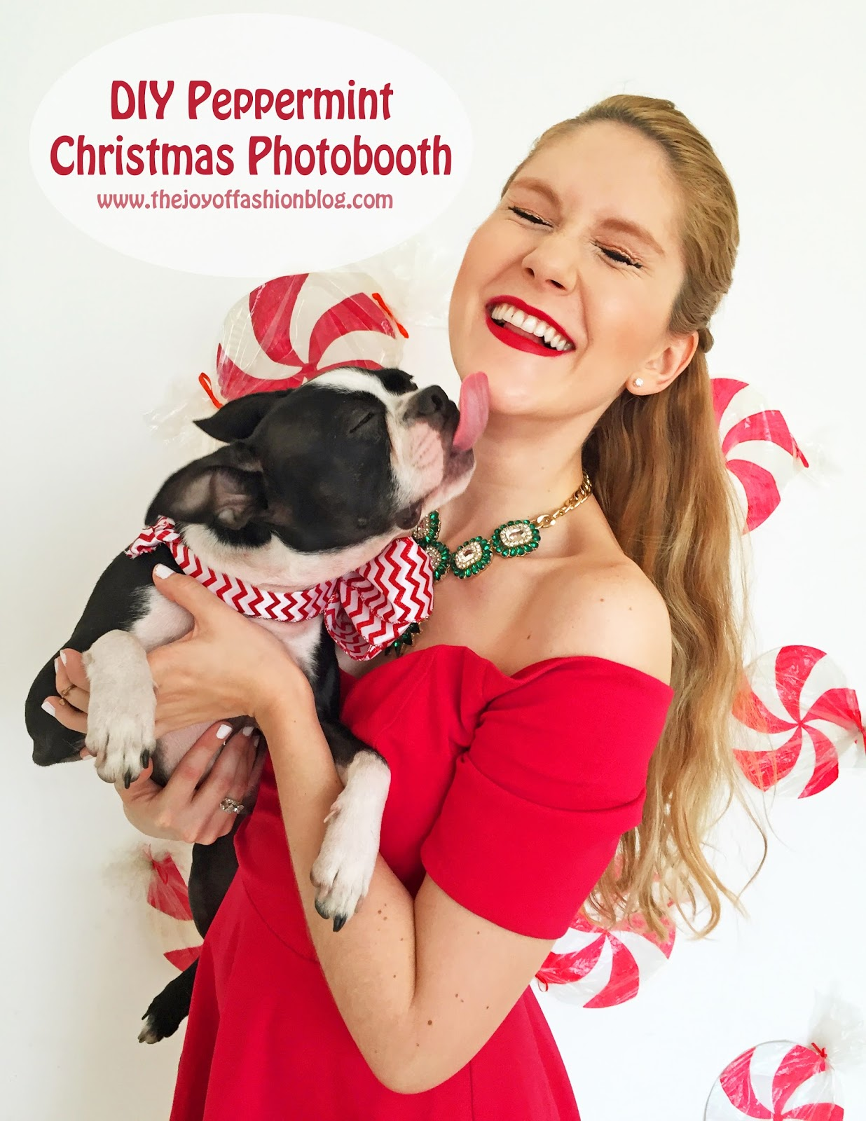 Super cute and easy to make Peppermint photobooth for Christmas! Click through for full tutorial