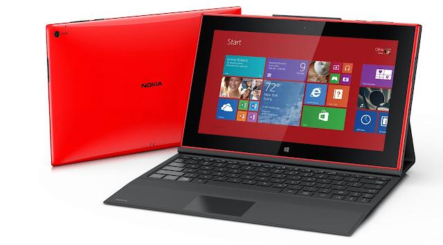 Nokia Lumia 2520 roja con teclado