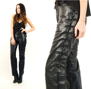 Vintage 1980's black leather lace up high waisted motorcycle pants.