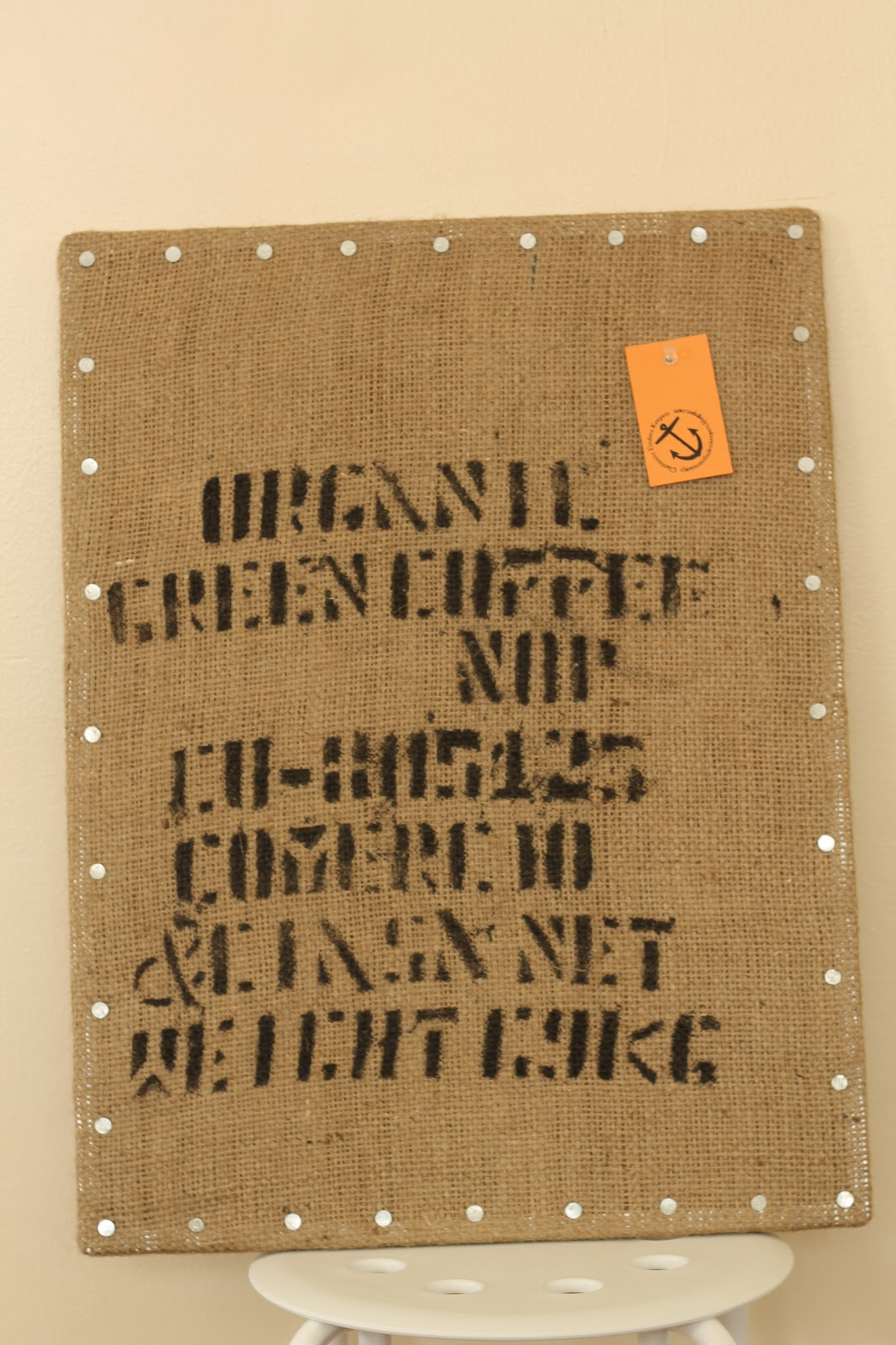 Burlap coffee bag crafts - We Covered A Pinboard With A Burlap Coffee Bag And Added Galvanized Nails To Trim It Keep It Above Your Desk In The Kitchen Or Anywhere You Need To Pin