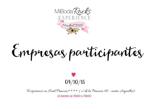 Empresas participantes Mi Boda Rocks Experience Madrid 4 octubre 2015