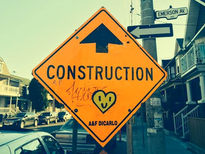 Construction sign with a heart