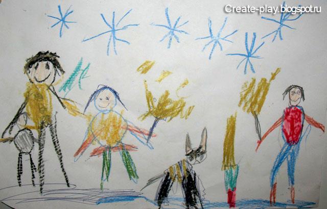 семья детский рисунок