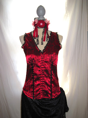 evening dress, up-cycled victorian patterns bright red and black sheer lace