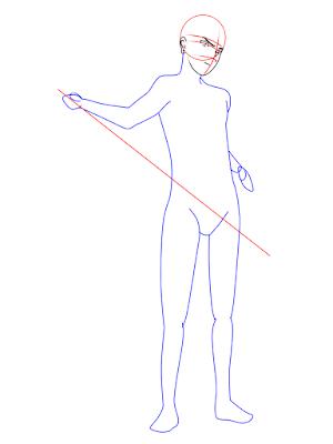 menggambar sasuke uchiha black costume langkah 9