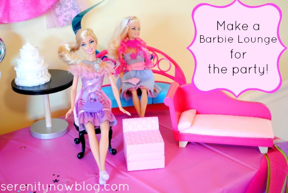 Barbie &quot;Lounge&quot; for Barbie Themed Birthday Party, from Serenity Now