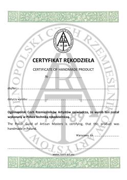 Certyfikat rękodzieła.