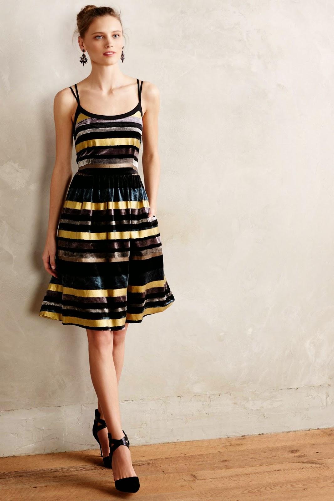 anthropologie velvet stripe dress, anthropologie party dress,