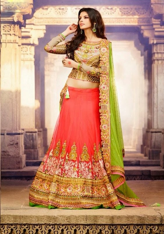 Pink Net Lehenga With Green Net Dupatta & Heavy Zari & Resham Work