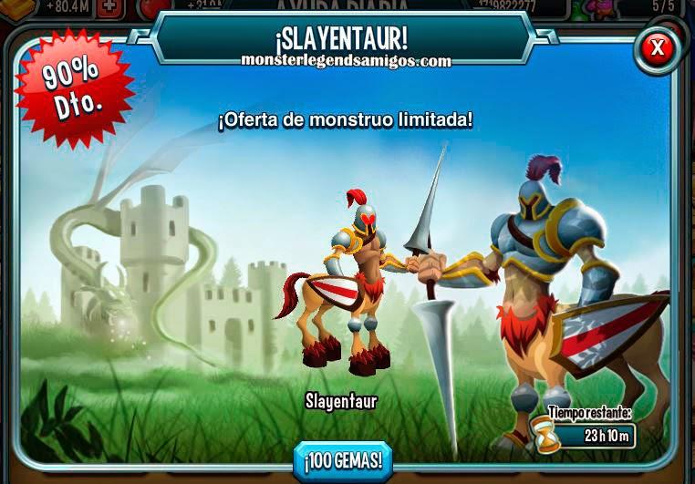imagen de la oferta del monstruo slayentaur de monster legends