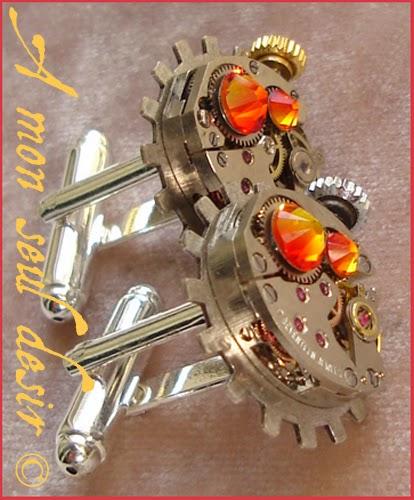 Boutons de Manchette Steampunk Mécanisme mouvement de montre mécanique Rouage gear wheel watchwork silver cuff button ClockWork
