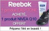 3 Suisses: Soldes + 1 produit Reebok Easytone acheté, 1 produit Nivéa Q10 OFFERT