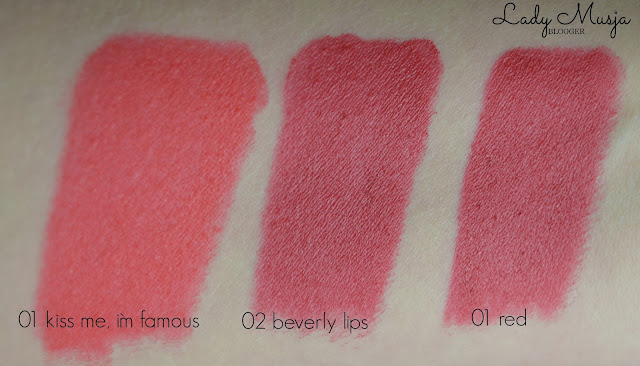 Rdel Young swatches 01 kiss me im famous 02 beverly lips Rival de Loop Deluxe Selection Lipstick 01 red