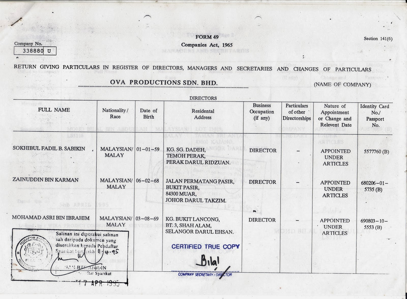 form 49 Return giving particulars in register of directors, managers and secretaries and changes of particulars form 49 companies act, 1965 (section 141(6) .