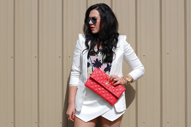 Palm tree tank, white Zara skort and jacquard blazer with a coral Marc Jacobs clutch.