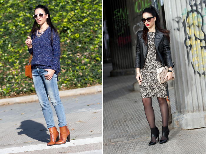 Meltin' Pot Jeans and blue sweater and lace dress with leather biker jacket