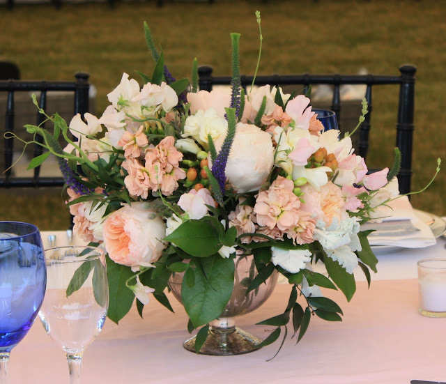Mercury Galss FlowerTable Centerpieces - peonies, sweet peas, stock, garden roses, frosty pink astilbe, and lavender - Glenmere Mansion Wedding - Splendid Stems Floral Designs