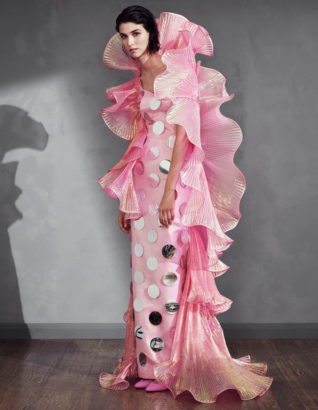 Moschino 2015 SS Barbie Pink Beauty Queen Gown Editorials