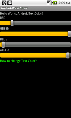 Change Text color using setTextColor()