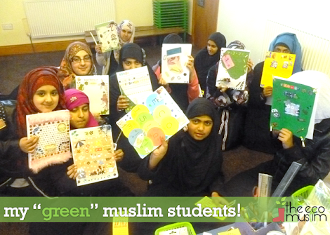 teaching mosque students about islam & environment (recycled resources)