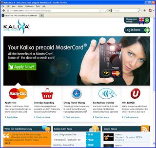 Kalixa prepaid MasterCard homepage