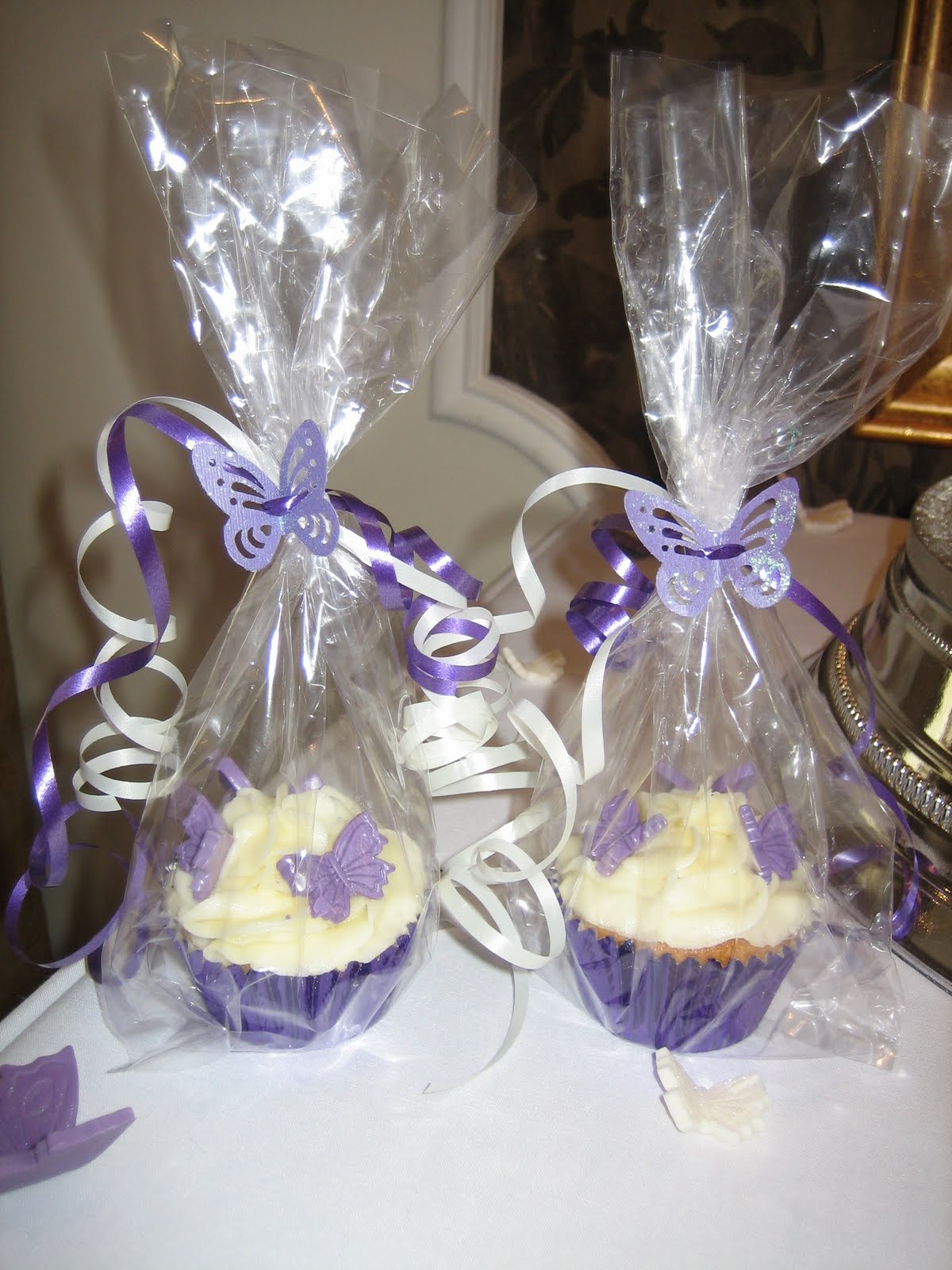 Sarah T Cakes Purple and Ivory butterfly wedding cake