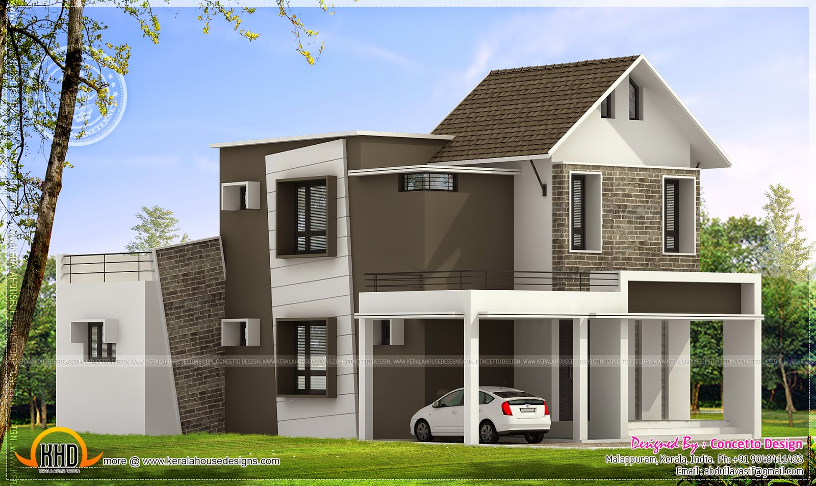 260 square yard house exterior kerala home design and for Square home plans