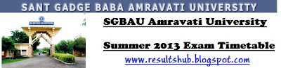SGBAU Summer 2013 Timetable Amravati University