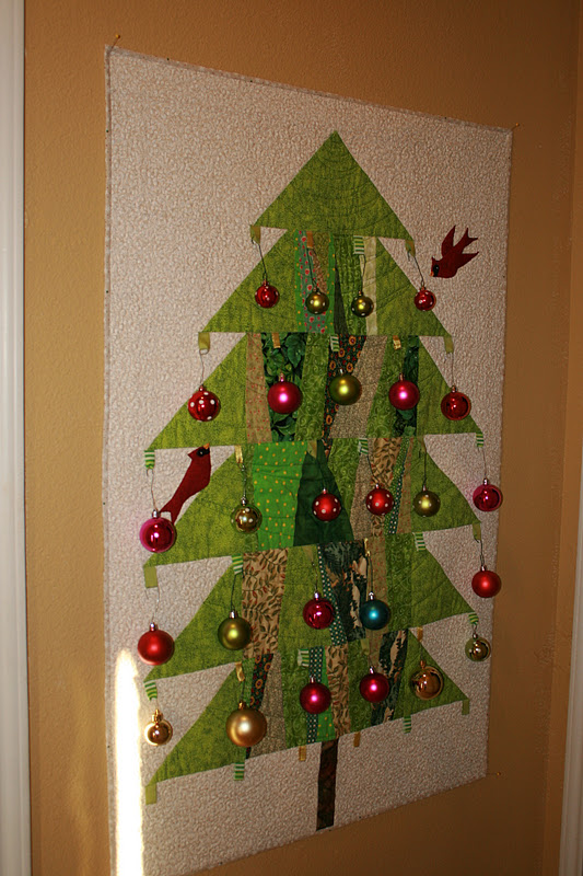 Buzzing And Bumbling Quilted Christmas Tree Wall Hanging