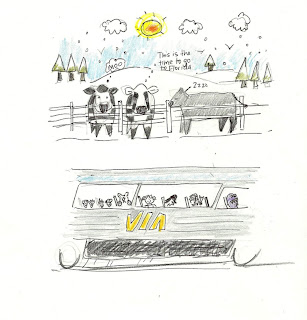 A sketch of a Via Rail train car going past three cows in a frozen field.