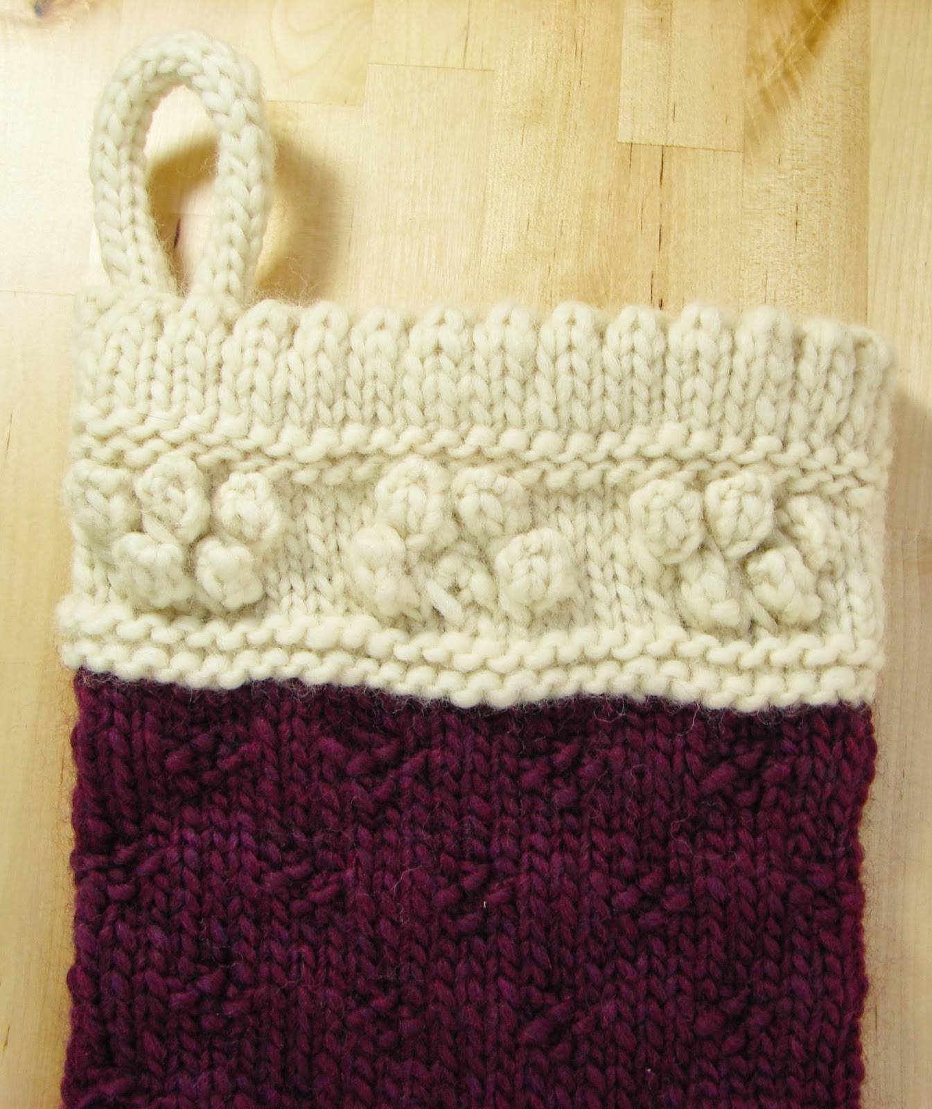 classic christmas stocking knit wool chunky cream white purple