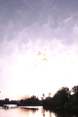lightning lighting the sky so much you can't see the fireworks