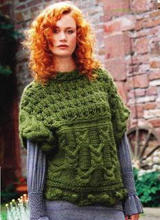 http://www.vyazemsami.ru// Пуловер с косами и «шишечками»
