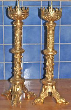 19th century Gilt Bronze Pricket Sticks
