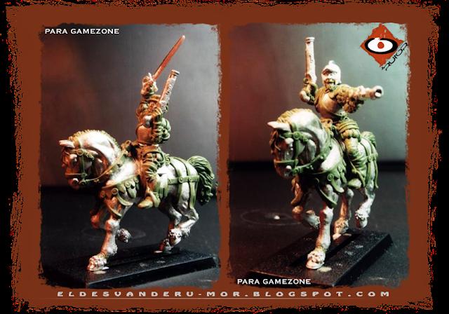 Miniatura de los tercios del Imperio diseñadas y esculpidas por ªRU-MOR para gamezone a escala warhammer fantasy. Pistolero o caballería ligera