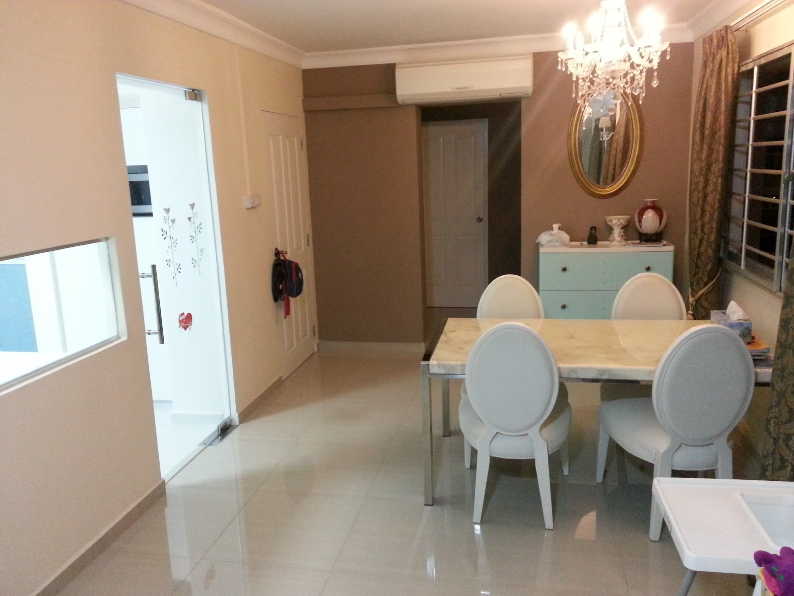 Our HDB Flat Renovation in 2009: Glass Door and kitchen-living window