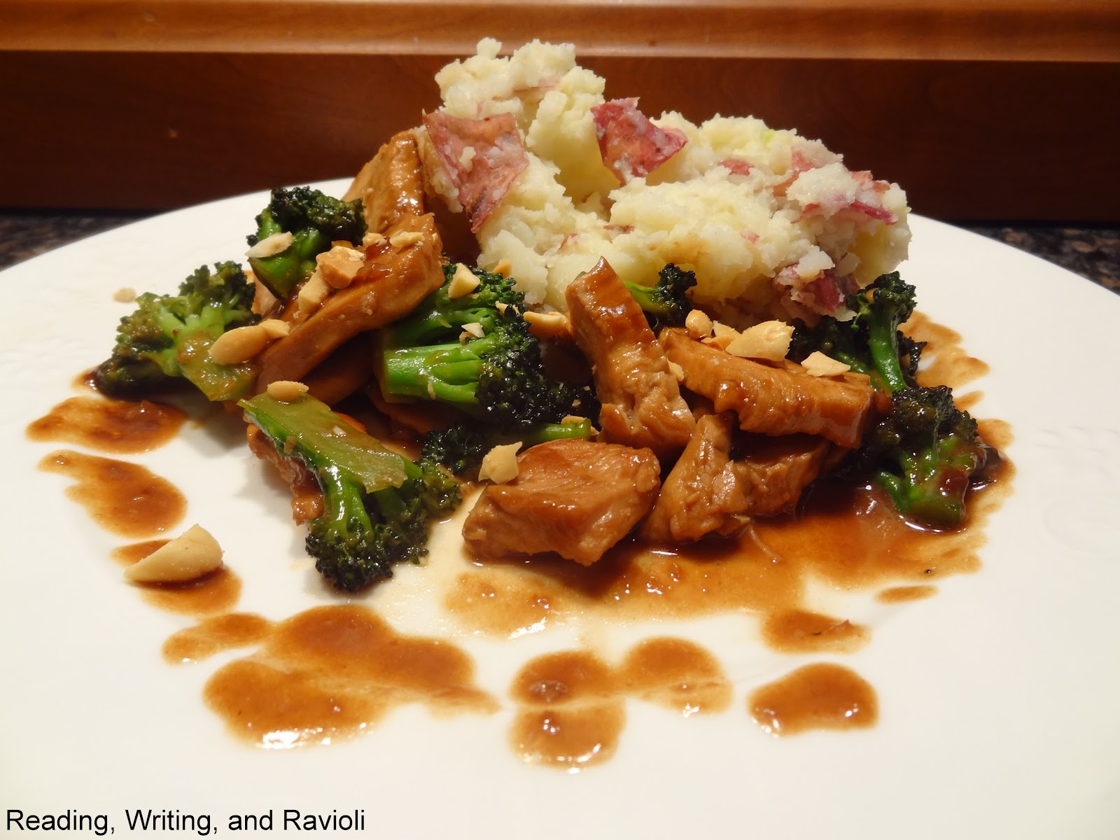 ... and Broccoli Stir Fry with Hoisin Sauce and Wasabi Smashed Potatoes