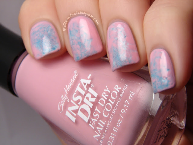 nails nailart nail art polish mani manicure Spellbound Lacquer Valentine's Day V-Day Valentine Valentines saran wrap double tutorial Blogs to Love Friday linkup link up pink blue white Sally Hansen Pink Blink Color Fever petites Creme Blue
