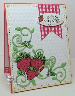 "ODBD ""Strawberries & Pickles"", ""Strawberries"", ""Fancy Foliage Dies"" Card Designer Angie Crockett"