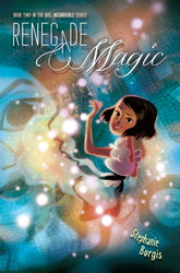 The cover of RENEGADE MAGIC, featuring a smiling Kat partly submerged in one of the Roman Baths, with magic all around her