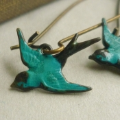 Turquoise swallow bird earrings