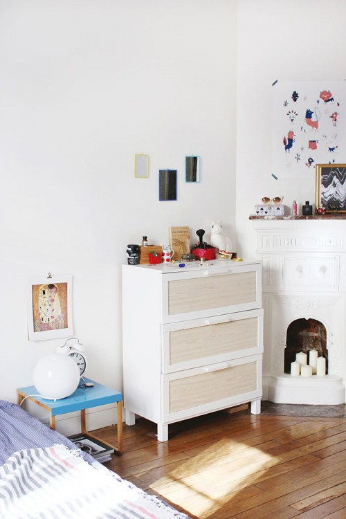 Cómoda vintage, decorar chimenea con velas
