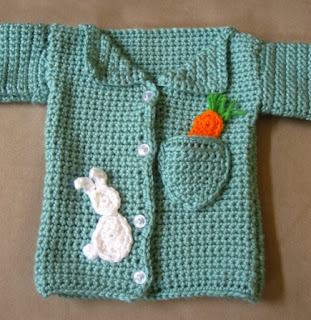 Crochet baby boy cardigan with rabbit and carrot appliques