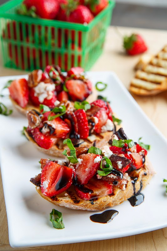 Strawberry Bruschetta with Bacon, Candied Pecans, Goat Cheese and Balsamic Drizzle