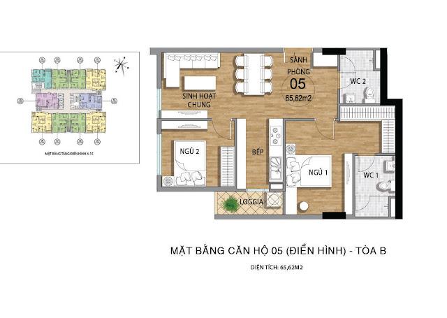 Mặt bằng căn hộ B05 tầng 4-15 dự án Valencia Garden
