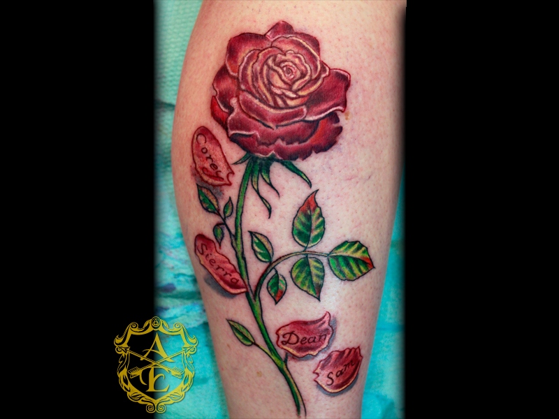 Arrows and embers custom tattooing rose tattoo done by for Rose petal tattoo