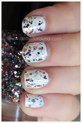 Essence Circus confetti rainbow glitter polish swatches