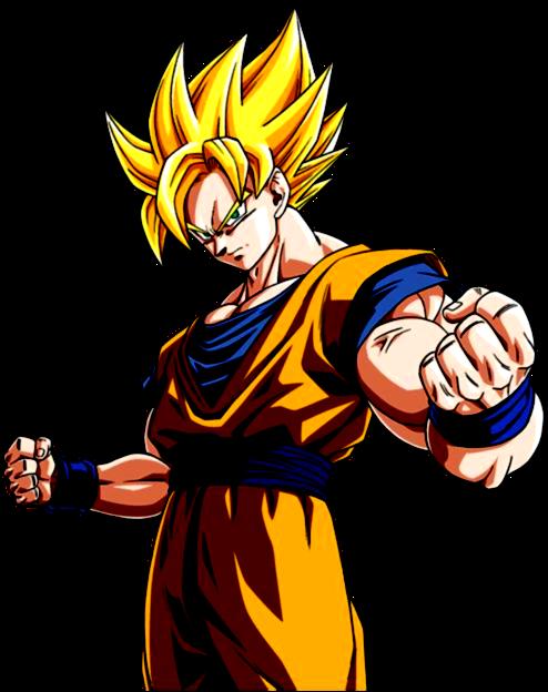 Desenho Goku Dragon Ball Z colorido com fundo transparente
