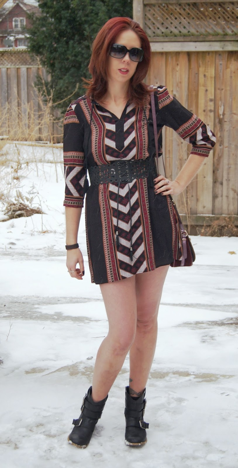 Aztec Print Dress from Forever 21 + Wide Belt from Hot Topic, Kensie Booties from Sears Canada, Guess Purse Fashion and Stle Blogger Melanie.Ps The Purple Scarf